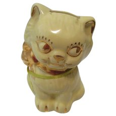 Ceramic Cat Bank with Gold Trim Hand Painted