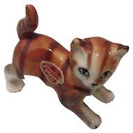 "Tiny Japanese Bone China"" Shiken ""Japan Cat-Shelf Sitter"