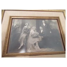 Wedding Photograph of Bride, Groom and Attendants  1930's   Framed