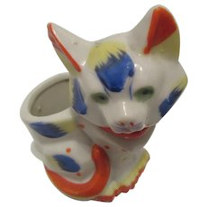 Japanese Colorful Porcelain Cat Toothpick Holder