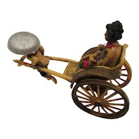 Plastic 1950s Rickshaw with Geisha Painted and Detailed