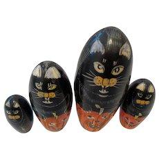 Halloween Matryoshka Cats and Pumpkins