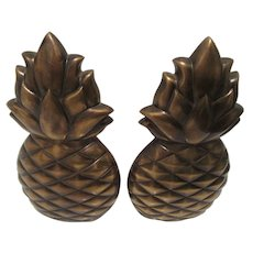 Brass Pineapple Bookends Symbol of Hospitality