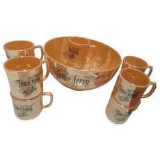 Tom and Jerry Peach Lustre Egg Nog Bowl Set with Ten Cups