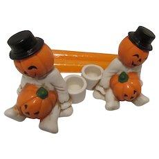 Brinn's Smiling Pumpkin Candle Holders 1980 Taiwan