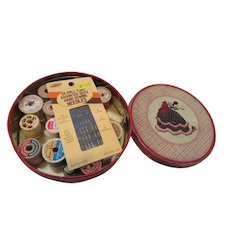 Vintage Sewing Tin with Notions