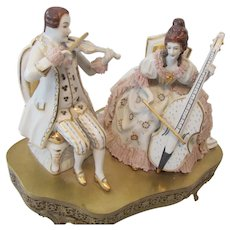 1940s Ornate and Heavy Porcelain Music Box