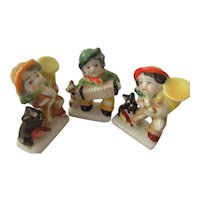 Three Occupied Japan Figurines Playing Musical Instruments