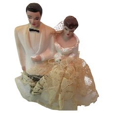 Wedding Cake Topper Bride and Groom 1940s