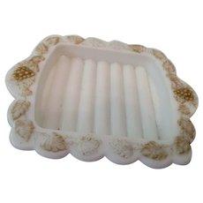 Westmoreland Grape Leaf Pattern Soap Dish Milk Glass