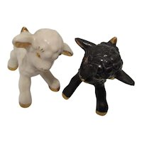 Vintage Hand Painted Black and White Lambs -Japan