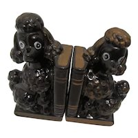 Black Poodle Hand Painted Bookends 1950's Japan