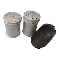 Rustic Aluminum Shakers & Steel Scoop 1940's
