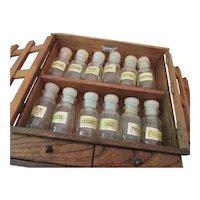 Vintage Hanging Spice Cabinet with 12 Labeled Spice Bottles-Japan