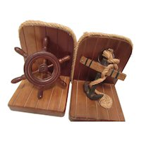 1960s Wooden Bookends Nautical Theme Taiwan