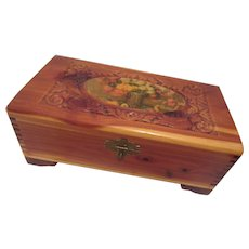 Vintage Wooden Jewelry Box with Cedar Lining and Mirror on Lid
