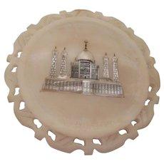 Taj Mahal Mother of Pearl Inlay in Alabaster
