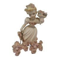 Vintage Lefton Lady with Bouquet 692 and Poodles 1950s