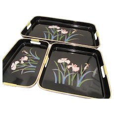 Japanese Lacquerware Serving Trays Set of Three with Iris