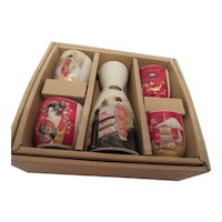 Japanese Sake Set with Maiko, Mt. Fuji, Golden Pavilion and Geisha