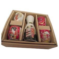 Japanese Sake Set with Maiko, Mt. Fuji, Golden Pavilion and Geisha