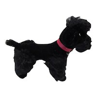 Stuffed Poodle Dog Mohair with Leather Collar 1950/1960