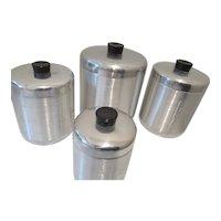 Century Spun Aluminum Four Piece Canister Set -Excellent Condition