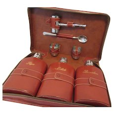 1960s Travel Bar Set Cowhide Leather Case