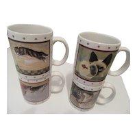 Four Lowell Herrero Cat Mugs 1986 Made in Japan