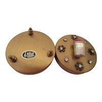 Gold Tone Pin Cushion Case with Rhinestones U.S.A.