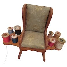 Sewing Caddy Rocking Chair with Wooden Spools of Thread