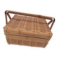 Rattan Sewing Box Occupied Japan Vintage Item