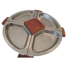 Kromex Walnut and Stainless Steel Lazy Susan
