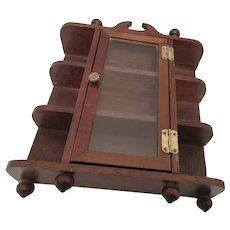 Miniature Wooden Curio Cabinet with Glass Door