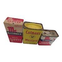 Vintage Spice Tins: Colman's & Mc Cormick