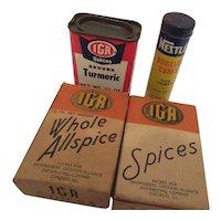 IGA Spice Tin and Boxes & Nestle Bouillon Cubes Tin