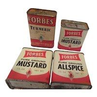 Forbes Vintage Spice Tins: Allspice, Mustard, Turmeric