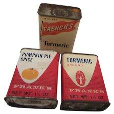 Frank's & French's Vintage Spice Tins U.S.A.