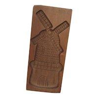 Original Handgestoken Wood Carving Windmill from Holland