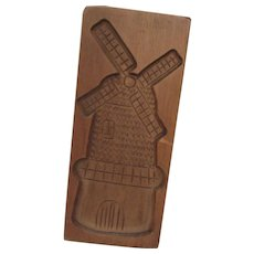Original Handgestoken Wood Carving Windmill from Holland