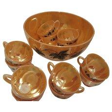 Fire King Peach Lustre Egg Nog Set Twelve Cups