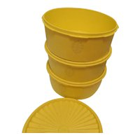 Tupperware Set of Three Bowls with Lids-Yellow