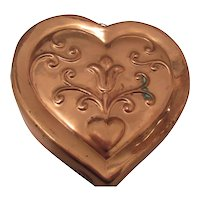Vintage Copper Mold Heart Tin Lined Brass Hook