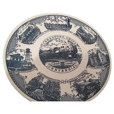 Bradford, Ohio Centennial Plate 1866-1966 with Trains