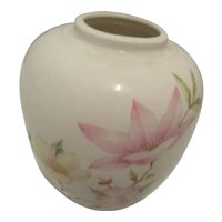 Vintage Japanese Vase with Pastel Flowers