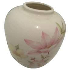 Vintage Japanese Vase with Pastel Flowers