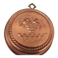 Vintage Copper Wall Plaque with Basket of FRuit