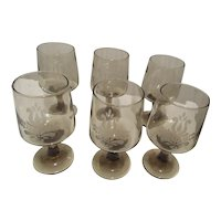 Pfaltzgraff  Cocktail or Wine Glasses Amber Etched