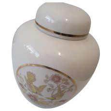 Japanese Ginger Jar with Yellow Birds and Colorful Flowers