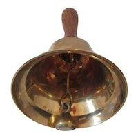 Vintage Brass Dinner Bell with Wooden Handle
